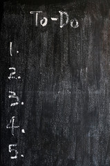 Blank to-do list on a smudged blackboard