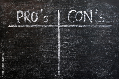 Pros and cons list drawn with chalk on a blackboard