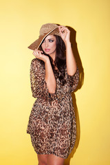 Elegant woman in animal print outfit
