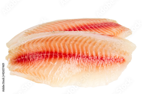tilapia fillets isolated on white background