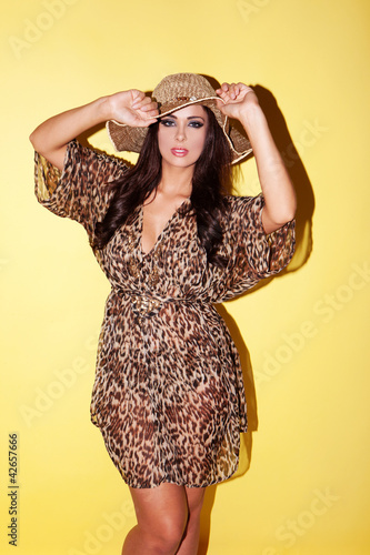 Fashion model in animal print outfit