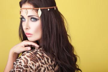 Exotic woman wearing a headband