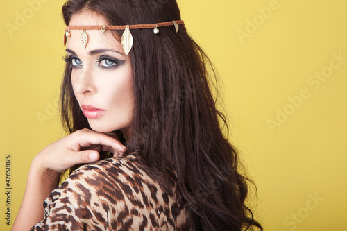 Exotic woman wearing a headband