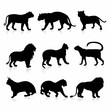 Big Wild Cats Silhouettes detailed