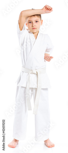 Aikido boy fighting position