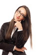 Portrait of a young business lady standing with folded hand
