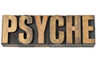 psyche word in wood type