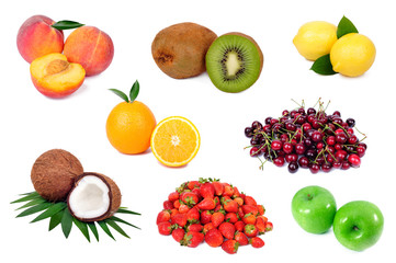 Set of fresh fruits isolated on white background