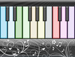 Music background with a colorful piano keyboard
