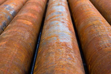 Corroded casing pipes situated near an oil well