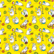 Vector pattern with cartoon sheep
