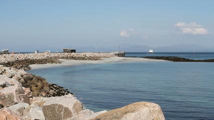 ferry arriving Isle of Eigg Scotland