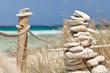 Balanced stones near the beach. Formentera island. Spain.