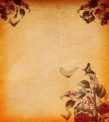 Grunge paper background with floral decoration.