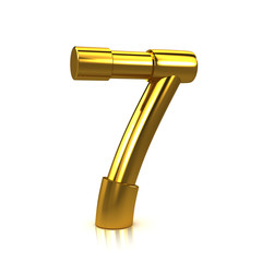 3d Gold Tubing Number 7