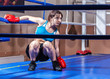 girl boxer in boxing ring