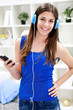 Young Teen Girl Listening To Music