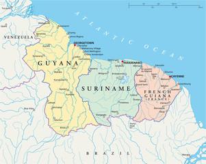 Guyana, Suriname and French Guiana - Map