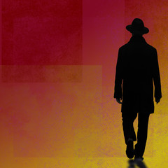 man silhouette walking on abstract red background