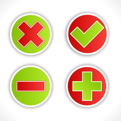 Satin button validation icons.