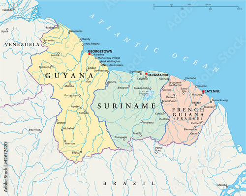 Guyana, Suriname and French Guiana - Map
