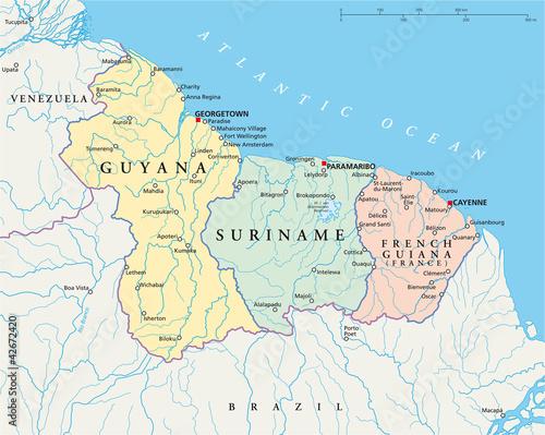 French Guiana Suriname and Guyana