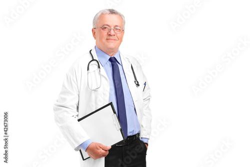 A maturemale doctor posing