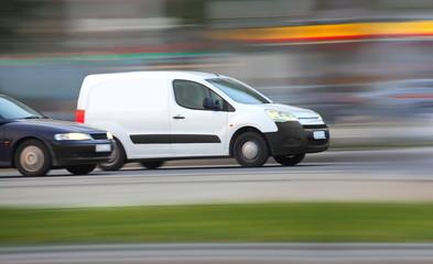 Blur white van,  panning, blur and move