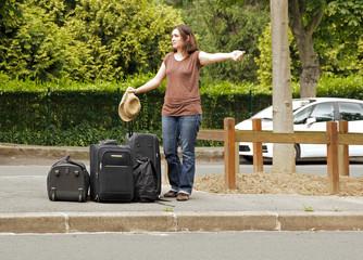 auto-stoppeuse, départ en vacances