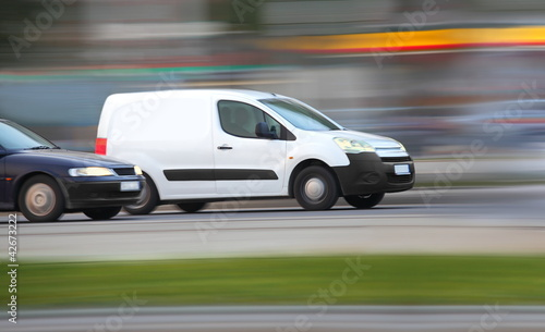 Blur white van,  panning, blur and move