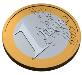 1 Euro Münze Teuro 3D