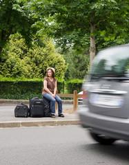 désespoir de l'auto-stoppeuse