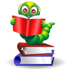 Verme Cartoon Con Libro-Worm Cartoon with Books-Vector
