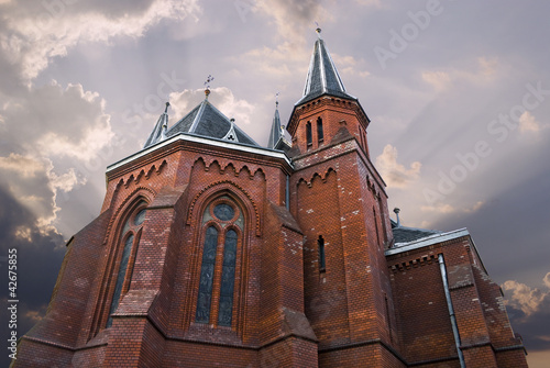 Brick church in sunrise
