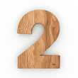 3d Font Wood Number 2