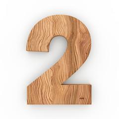 3d Font Wood Number 2
