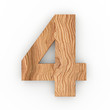 3d Font Wood Number 4