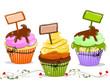 Muffin, Cupcakes mit Schild