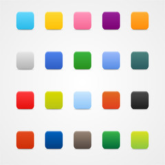 Colored blank rounded squares buttons with color on white.