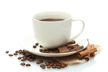 cup of coffee and beans, cinnamon sticks and chocolate isolated