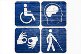 Four Grunge disabled symbols