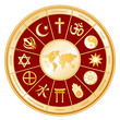 World of Faith around earth map, 12 global religions, labels