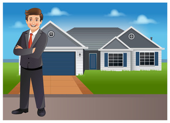 Young businessman/ property dealer standing in front of a house