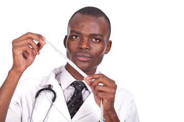doctor holding a tape measure