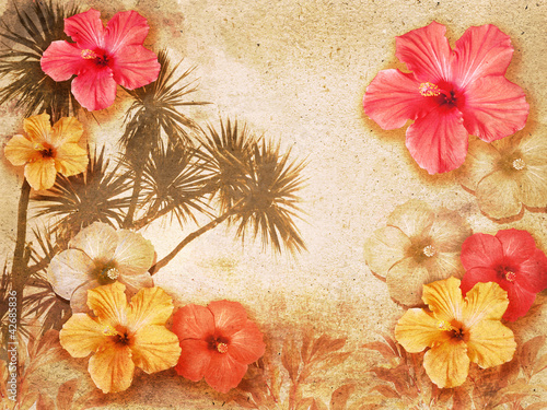 Foto op Canvas Retro tropical background