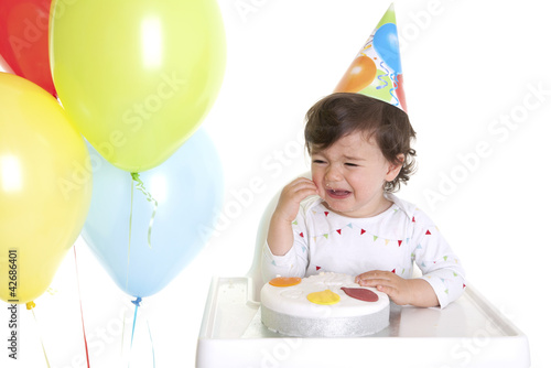 Baby crying at his birthday party