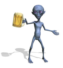Alien Enjoying a Mug of Beer