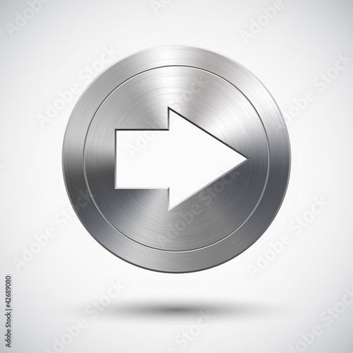 Button with metal (chrome) texture and right arrow sign