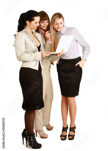 A full-length portrait of businesswomen with folder