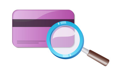 credit card and magnifying glass